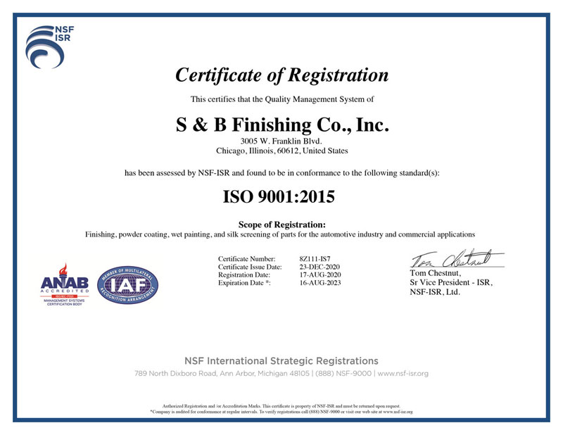 S&B Finishing ISO 9001 Certificate
